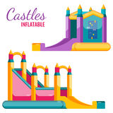 Two colorful castles inflatable isolated on white vector poster Stock Photo