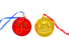 Two colorful Christmas balls isolated on white Royalty Free Stock Photo