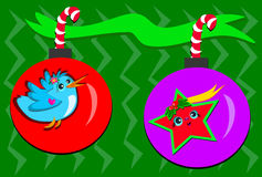 Two Colorful Christmas Ornaments Royalty Free Stock Images
