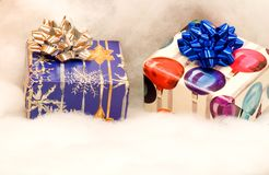 Two colorful Christmas presents stock photos