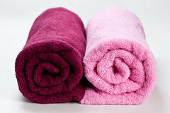 Two Colorful clean cotton towels isolated on white Stock Image
