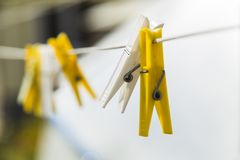 Two colorful clothespin Royalty Free Stock Images