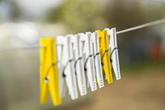 Two colorful clothespin Royalty Free Stock Image