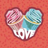 Two colorful cupcakes. Postcard for valentines day. Vector illustration Royalty Free Stock Images