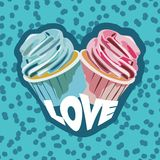 Two colorful cupcakes. Postcard for valentines day. Vector illustration Stock Images