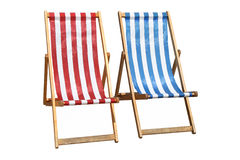 Two colorful deckchairs. Stock Photography