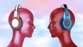 Two colorful disco girl-robot heads with shining eyes in big headphones facing each other,. Music poster template isolated 3d render Royalty Free Stock Photo