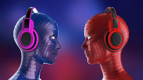 Two colorful disco girl-robot heads with shining eyes in big headphones facing each other,. Music poster template isolated 3d render Royalty Free Stock Photos