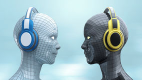Two colorful disco girl-robot heads with shining eyes in big headphones facing each other,. Music poster template isolated 3d render Stock Photography