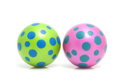 Two colorful dotted balls Royalty Free Stock Images