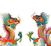 Two colorful dragon statue Stock Images