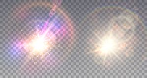 Two colorful explosions. On light background in shining fog  with sparkling lens flare Royalty Free Stock Photos