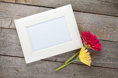 Two colorful gerbera flowers and photo frame Royalty Free Stock Photo