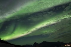 AURORA BOREALIS BANDS IN THE ARCTIC SKY stock images