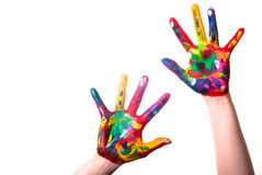 Two colorful hands with Copy Space. Two painted colorful hands with space for text on a white background Royalty Free Stock Image