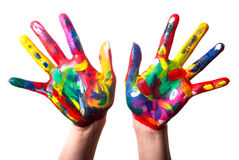 Two colorful hands V1 Stock Images