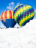 Two colorful hot air balloons against blue sky Royalty Free Stock Photography