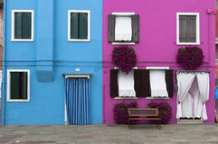 Two colorful houses of Burano Island, Venice, Italy Royalty Free Stock Image