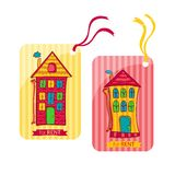 Two colorful label depicting houses in cartoon Stock Images