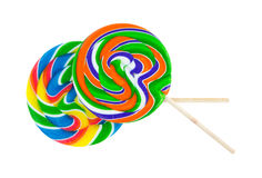 Two colorful lollypops on a white background Stock Images