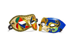 Two colorful Mardi Gras Masks on pure white background. Masks can be silhouetted or dropped onto a page white background with no discernable edges stock images
