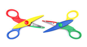 Two colorful open scissors Stock Photos