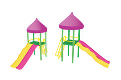 Two colorful playground slides Royalty Free Stock Photos