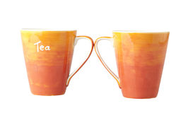 Two colorful porcelain tea mugs Stock Photo