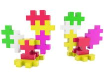 Two colorful puzzle roosters. In backgrounds Stock Illustration