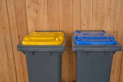 Two Colorful Recycle Bins Royalty Free Stock Images
