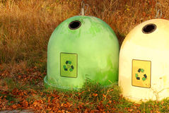 Two colorful recycling bins Royalty Free Stock Images
