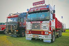 Two Colorful Retro Volvo F16 Show Trucks stock photography
