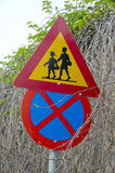 Two colorful road signs, Greece Stock Photos