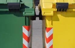 Two colorful rubbish bin detail Royalty Free Stock Photo