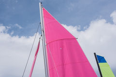 Two colorful  sails of sailboats Royalty Free Stock Photo