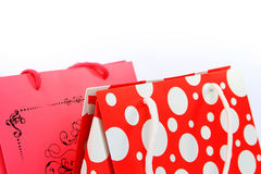 Two colorful shopping bags closeup Royalty Free Stock Images