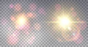 Two colorful  soft explosions. Two colorful soft explosions on light background in shining fog  with glittering lens flare Royalty Free Stock Images
