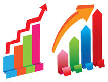 Two colorful stock charts Stock Photography