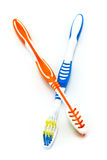 Two colorful toothbrushes Royalty Free Stock Image