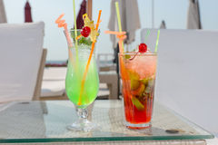 Two colorful tropical cocktails Royalty Free Stock Images