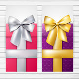 Two colorful vertical banners with bows Stock Images