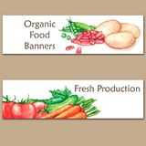 Two colorful watercolor banners with fresh organic food. Hand drawn illustrations of fresh vegetables Stock Photo