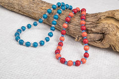 Two Colorful Wood Bead Necklaces Royalty Free Stock Image