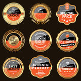 Two colors badge collection. Set of golden luxury badges Stock Photos