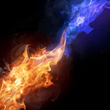 Two colors fire flames Royalty Free Stock Images