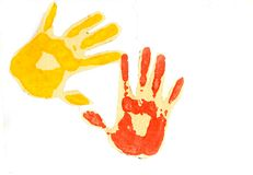 Two colors hand prints. Royalty Free Stock Image