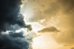 Two colors of sky day light sky confront with strom. Cloudy sky nature background Royalty Free Stock Photos