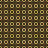 Gold on Black two different sized squares with circles seamless repeat pattern background. Two colour two different sized squares with circles seamless repeat Stock Images