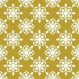 White on gold geometric tile with clubs seamless repeat pattern background. Two colour geometric tile with clubs seamless repeat pattern background. Could be Royalty Free Stock Image
