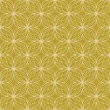 White on gold geometric tile oval and circle scribbly lines seamless repeat pattern background. Two colour geometric tile oval and circle scribbly lines seamless Royalty Free Stock Image